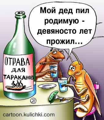 Карикатура о долгожителях. Отрава для тараканов. Пьют отраву, лечатся. Долго живут. Отрава их не берет. Водкой травят народ.