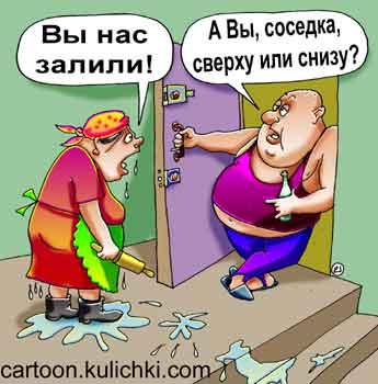 Карикатура про алкоголиков. Пьяный сосед забыл выключить воду и затопил соседей. Соседка с низу пришла с ним скандалить, а он интересуется от куда она – сверху или с низу прибежала.
