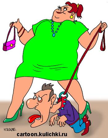 Карикатура о супругах. Жена на поводке держит своего мужа.