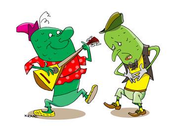 Карикатура про огурцы. Огурцы пожелтели, болеют. Зеленый огурец с балалайкой. Огурцы импортные заражены инфекцией. От заразных овощей понос и смертельные случаи. Отечественный огурец здоровый и веселый с балалайкой пляшет на грядках россиян.