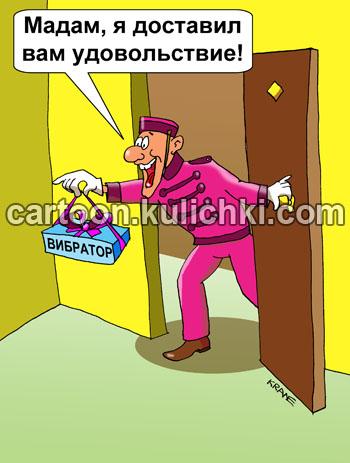 Карикатура о секс игрушках. Портье принес коробочку с вибратором в гостиничный номер даме. Доставил в номер удовольствие женщине.