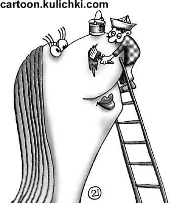 Карикатура про макияж. Штукатур маляр наносит макияж на лицо артистки мастерками и шпаклевкой.